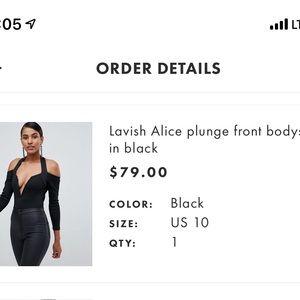 Lavish Alice plunge front black bodysuit 10. NWT